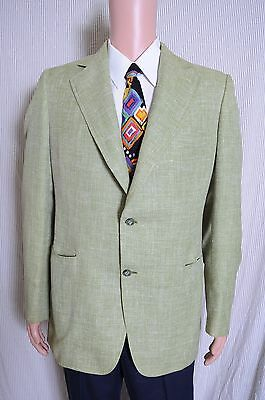 VTG '70s Hickey Freeman tailored two button lime green fully canvassed blazer 40