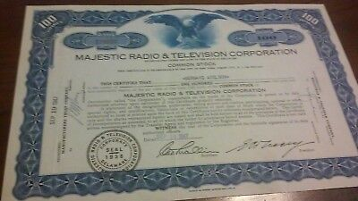 Majestic Radio & Television Corporation Stock Certificate 1947