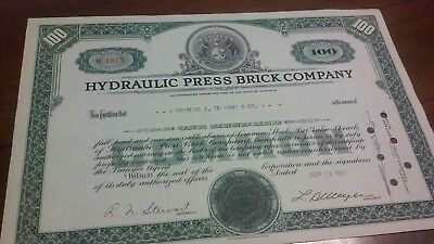 Hydraulic Press Brick Company Stock Certificate 1952