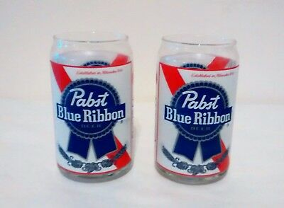 2 Vintage Pabst Blue Ribbon PBR Can Inspired Glasses 16 oz Pint