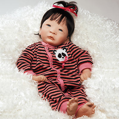 "Paradise Galleries Asian Reborn Doll ""Panda Twin Girl"" - 17 inch Chinese Doll"