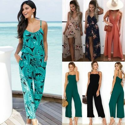Womens Sleeveless Party Playsuit Ladies Romper Summer Beach Long Floral Jumpsuit
