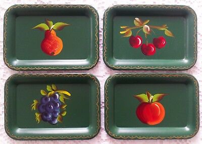4 Vintage Hand Painted Toleware Tole Cocktail Mini Tip Trays with Various Fruits