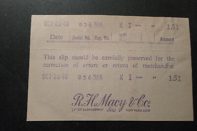Sales Receipt From R.h. Macy & Co. 34Th St & Broadway New York City, 10/26/1940