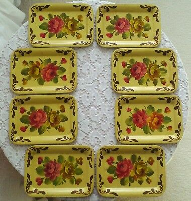 8 Vintage Toleware Tole Cocktail Tip Mini Trays Hand Painted Pink & Yellow Roses