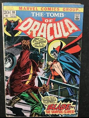 1973 Marvel Comics Tomb Of Dracula #10 1st Appearance Of Blade! VG