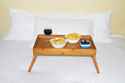 FOLDABLE BAMBOO  BED TRAY Breakfast Laptop Desk Tea Serving Table Stand Dinner
