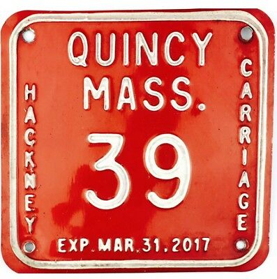 Quincy Massachusetts HACKNEY CARRIAGE License Plate #39