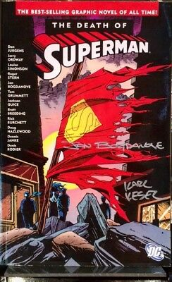 Death Of Superman Graphic Novel Signed By Bogdanove & Kesel *nm Dc
