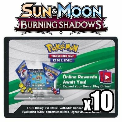 x10 POKEMON TCG ONLINE CODES SUN MOON BURNING SHADOWS SOLE LUNA OMBRE INFUOCATE
