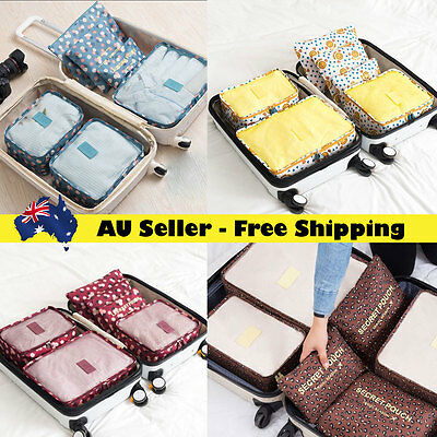 Travel Luggage Organiser 6pcs Sets Packing Cube Pouch Suitcase Storage Bags