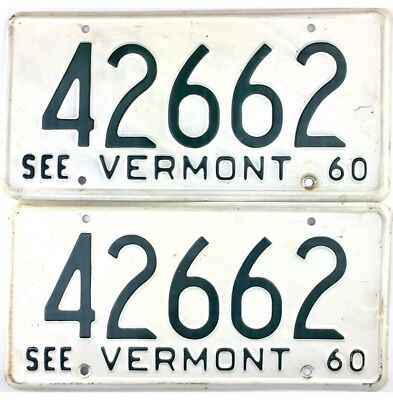 1960 Vermont License Plate PAIR #42662 NICE CONDITION