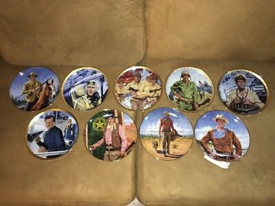 John Wayne Collectible Plates Lot of (9) The Franklin Mint Heirloom Collection