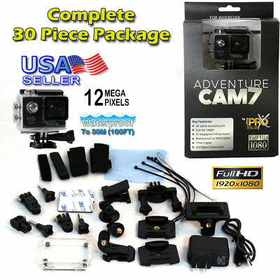 Sports Action Cam 7 with 30 Piece GoPro Accessory Kit 12MP Full HD 1080P
