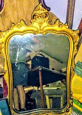 Vintage LARGE ANTIQUE GOLD GILT FRENCH WALL MIRROR