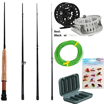 Fly Fising Rod with Reel Floating Line 12pcs Fly Fishing Flies and Box Combo Kit