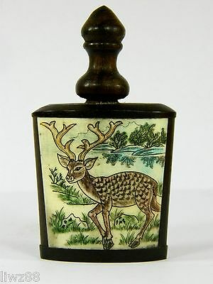 Chinese Bone Snuff Bottle,Hand Double-Side Engraved Deer & Landscape Picture