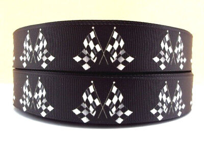 """CHEQUERED FLAG 22MM 7/8"""" Grosgrain Ribbon Craft Bow Sewing Sport Metre Yard RB69"""