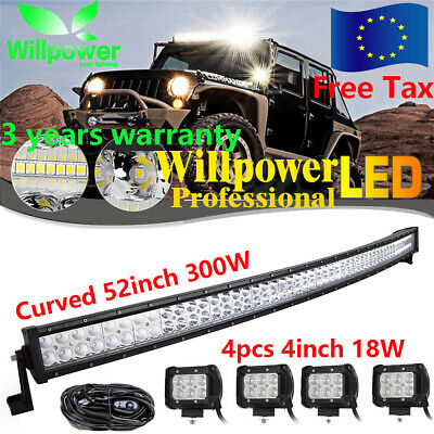 CURVED 52INCH 300W LED LIGHT BAR OFFROAD 4WD TRUCK SUV + 4PCS 18W+Wiring Cable