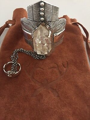 SPELL & Gypsy Silver Thunderstruck Cuff Large Crystal + attached ring RARE