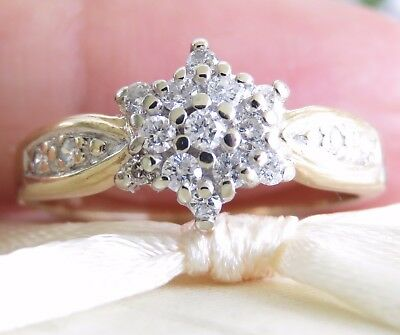 Beautiful Genuine 0.40ct Diamond Cluster Ring 9K Solid Yellow Gold