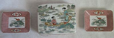 antique Japanese Arita porcelain  rare sample box and trays