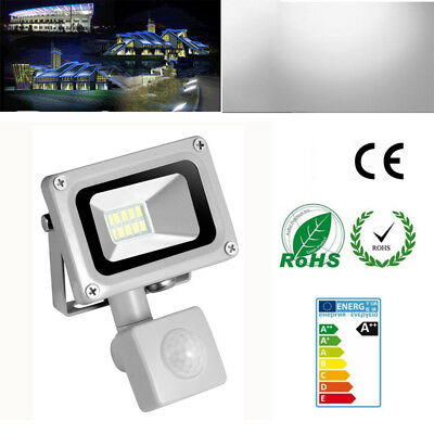 10W IP65 PIR Motion Sensor LED Flood Light Cool White Lamp Outdoor Floodlight
