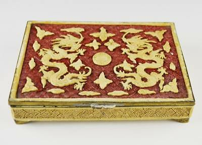 """Dragons and Shou Chinese Antique Brass Lacquerware Box Carved Shellac 6""""X1""""X4.5"""""""
