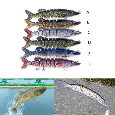 12.5cm 20g Lifelike 9-segement Pike Muskie Fishing Lure with Mouth Crankbait  MH