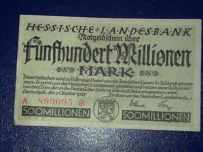 Germany - 500 Million Mark  Banknote 1923- Darmstadt-Inflation - Very Fine