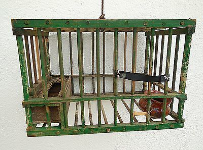 Antique Vintage Coal Miner's Wooden Canary Bird Cage