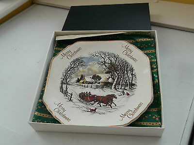 Boxed Debonair Ironstone  Christmas Plate Showing A Horse Drawn Sleigh