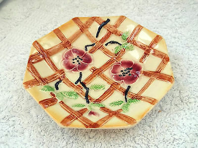 1947+ Eight Sided Pin Dish By Avon Ware With A Flowers On A Fence Pattern