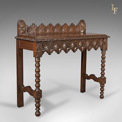 Antique Console Table, C19th Scottish Carved Walnut, Hall, Side, Quality