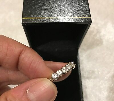 Estate Found Antique 9KT Hallmark Yellow White Gold Clear Stone Eternity Ring