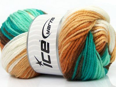 Lot of 4 x 100gr Skeins Ice Yarns FAVORITE MAGIC Wool Brown Shades Turquoise ...