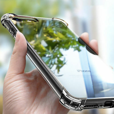 For iphone 8 6 6S 7 Plus Case Clear Hybrid Slim Shockproof Soft TPU Bumper Cover