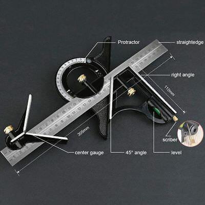 Combination Tri Square Set Angle Finder Protractor Level Adjustable Measure 30cm