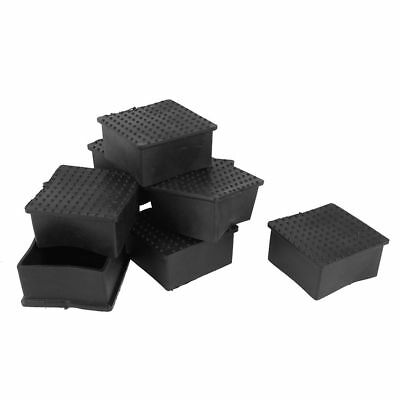 10 Pcs Square PVC soft Covers Furniture Foot Protector 60mm x 60mm Black SS