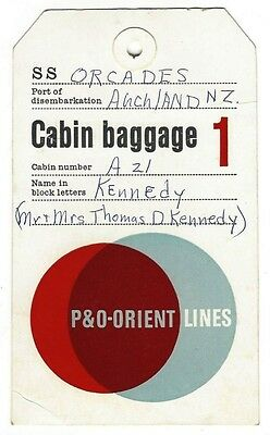 P&O ORIENT LINES vintage luggage tag Ӝ