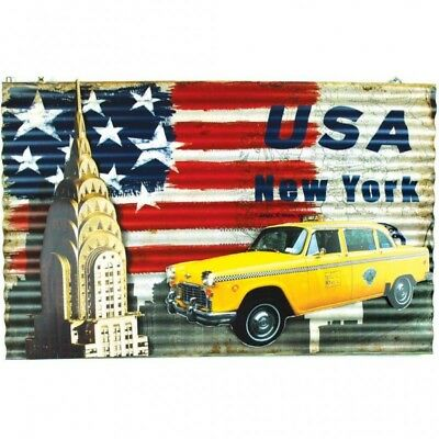 Metal Art Taxi Usa New York 60x44,5x1 placca in metallo Chrysler vintage - insta