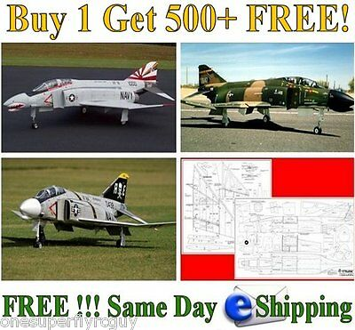 F-4 Phantom 1/10 Scale RC Airplane Full Size Plans & Templates in PDF Format