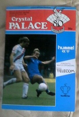 Manchester united v Crystal palace 1985/86 very good condition milk cup away
