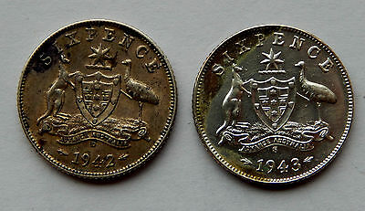 """1942 D & 1943 S Australia Six Pence Silver Coin KM#38 """"Lot of 2 Coins""""   SB4912"""