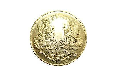 Laxmi Ganesh Pocket coin Gold Plated to Increase Business Subh labh Free Bag