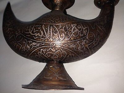 Vintage Hand Made Red Copper Oil Lamp Inlaid Silver