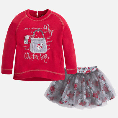 Mayoral Girls Long Sleeved T-Shirt with Tulle skirt set in Rojo (04975) aged 2-8
