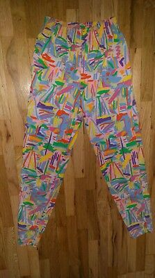 Vintage womens Ken Done bright colors abstract boats pants med