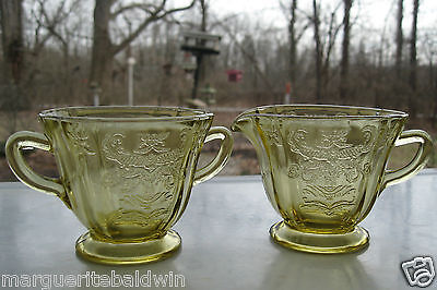 Federal Glass Amber Madrid Creamer Pitcher & Open Sugar Bowl