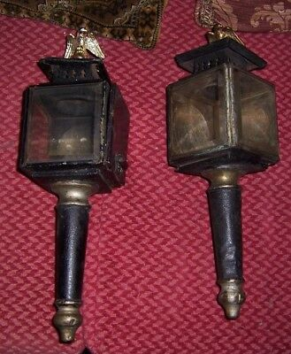 2 antique carriage lamps with eagles & beveled glass